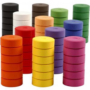 Vandfarver, diam. 44 mm, H: 16 mm, refill, 72stk.