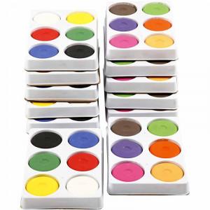 Vandfarve i palet, diam. 57 mm, H: 19 mm, 12bakker