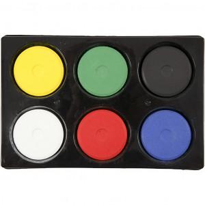 Vandfarve i palet, diam. 57 mm, H: 19 mm, primærfarver, 6stk.