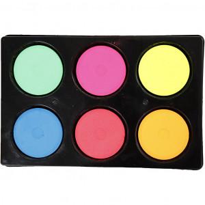 Vandfarve i palet, diam. 44 mm, H: 16 mm, neonfarver, 6stk.