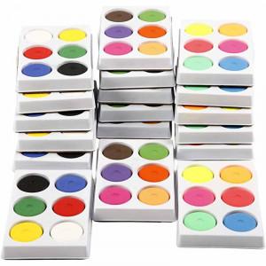 Vandfarve i palet, diam. 44 mm, H: 16 mm, 18bakker