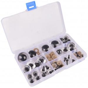 Infinity Hearts Sikkerhedsøjne/Amigurumi øjne i plastboks Klar 8-30mm - 18 sæt