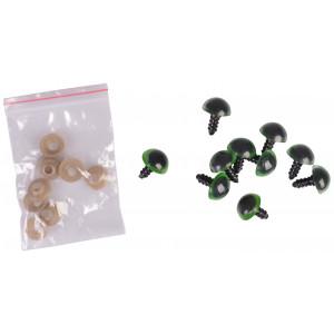 Infinity Hearts Sikkerhedsøjne/Amigurumi øjne Grøn 14mm - 5 sæt