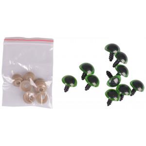 Infinity Hearts Sikkerhedsøjne/Amigurumi øjne Grøn 16mm - 5 sæt