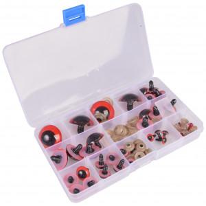 Infinity Hearts Sikkerhedsøjne/Amigurumi øjne i plastboks Rød 8-30mm -