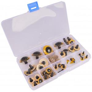 Infinity Hearts Sikkerhedsøjne/Amigurumi øjne i plastboks Gul 8-30mm -