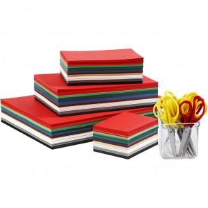 Julekarton og sakse, A3+A4+A5+A6 , 180 g, ass. farver, 1sæt