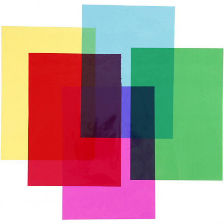 Image of   Cellofan, A4 21x30 cm, 25 my, ass. farver, 100ass. ark