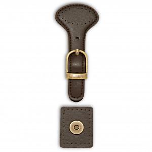 Prym Magnetlås/Taskelås til påsyning Imiteret Læder Brun 4,5x11,5cm