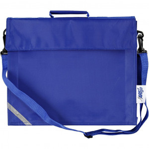 Skoletaske, str. 36x31 cm, dybde 6 cm, blå, 1stk.