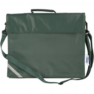 Skoletaske, str. 36x31 cm, dybde 6 cm, grøn, 1stk.