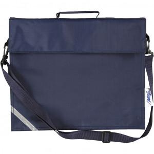 Skoletaske, str. 36x31 cm, dybde 6 cm, mørk blå, 1stk.