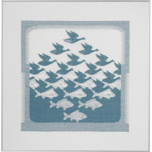 Permin Broderikit Hør Fugl/Fisk Gråblå 57x55cm