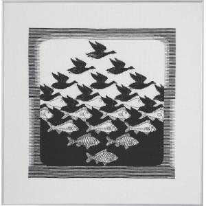 Permin Broderikit Hør Fugl/Fisk Mørkegrå 57x55cm