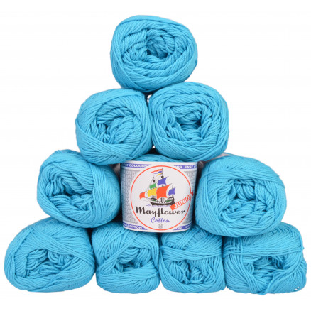 Image of   Mayflower Cotton 8/4 Junior Garnpakke Unicolor 1424 Turkis - 10 stk