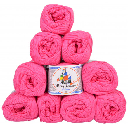 Image of   Mayflower Cotton 8/4 Junior Garnpakke Unicolor 1410 Pink - 10 stk
