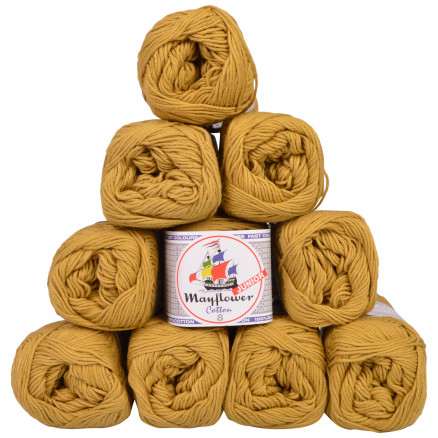Image of   Mayflower Cotton 8/4 Junior Garnpakke Unicolor 1433 Lys Oliven - 10 st