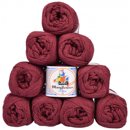 Image of   Mayflower Cotton 8/4 Junior Garnpakke Unicolor 1454 Vinrød - 10 stk