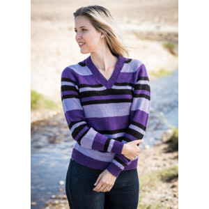 Mayflower Stribet bluse med V-hals - Sweater Strikkeopskrift str. S - XXXL