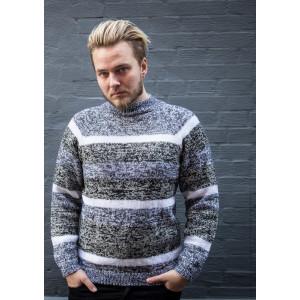 Mayflower Herresweater med Grå Striber - Bluse Strikkeopskrift str. S - XXXL