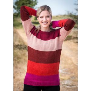 Mayflower Sweater med striber i fem farver - Sweater Strikkeopskrift str. S - XXXL