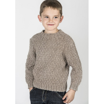 Image of   Mayflower Drengesweater i Meleret Look - Sweater Strikkeopskrift str.
