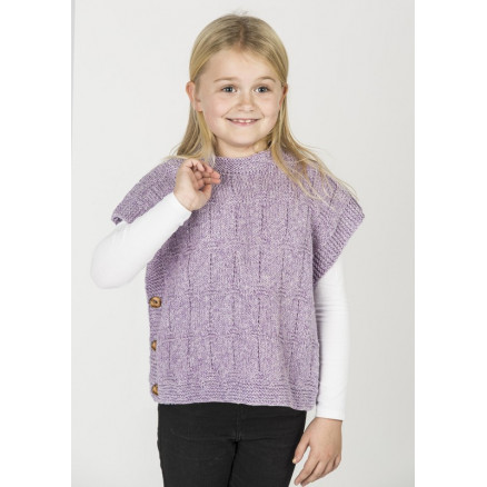 Image of   Mayflower Poncho-vest i Meleret Look - Poncho Strikkeopskrift str. 2 -
