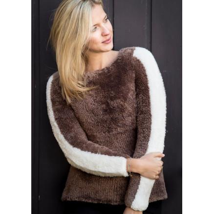 Mayflower Damesweater med stribe på ærmerne - Bluse Strikkeopskrift st