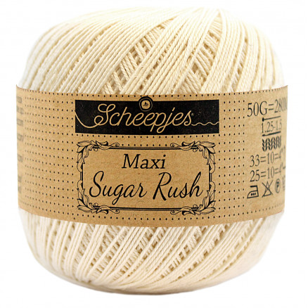 Image of   Scheepjes Maxi Sugar Rush Garn Unicolor 130 Old Lace