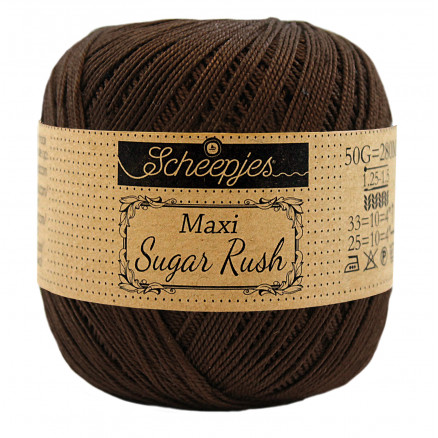 Image of   Scheepjes Maxi Sugar Rush Garn Unicolor 162 Black Coffee