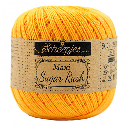 Image of   Scheepjes Maxi Sugar Rush Garn Unicolor 208 Yellow Gold