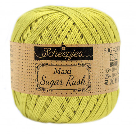 Image of   Scheepjes Maxi Sugar Rush Garn Unicolor 245 Green Yellow