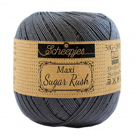 Image of   Scheepjes Maxi Sugar Rush Garn Unicolor 393 Charcoal