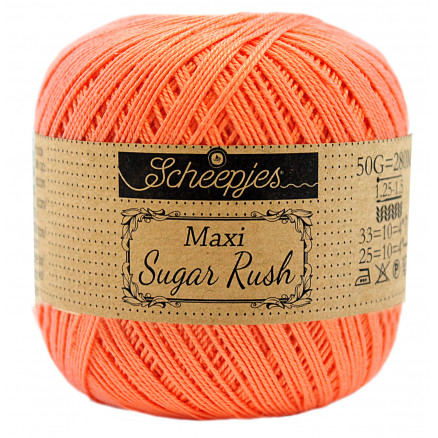 Image of   Scheepjes Maxi Sugar Rush Garn Unicolor 410 Rich Coral