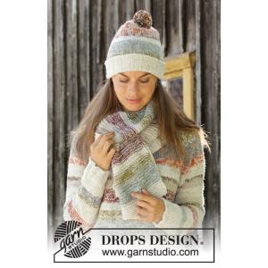 Fading Sunsetby DROPS Design - Hue og Halstørklæde Strikkeopskrift str. S/M - M/L