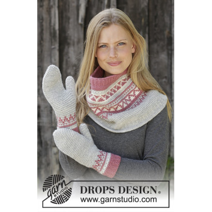 Image of   Hint of Heather Set by DROPS Design - Hals og Vanter Strikkeopskrift s