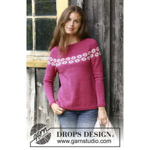 Daisy Delight by DROPS Design - Bluse Strikkeopskrift str. S - XXXL