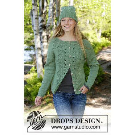Billede af Green Luck by DROPS Design - Jakke Strikkeopskrift str. S - XXXL