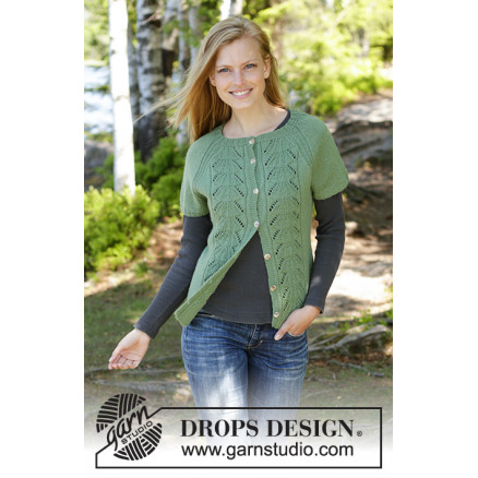 Image of   Green Luck Cardi by DROPS Design - Vest Strikkeopskrift str. S - XXXL