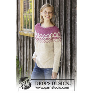 Diamond Delight by DROPS Design - Bluse Strikkeopskrift str. S - XXXL