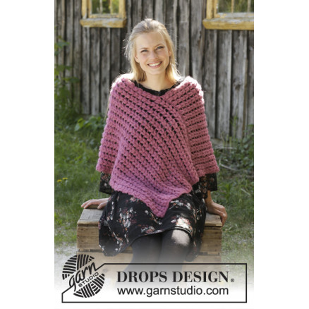 Image of   Malina by DROPS Design - Poncho Hækleopskrift str. S - XXXL