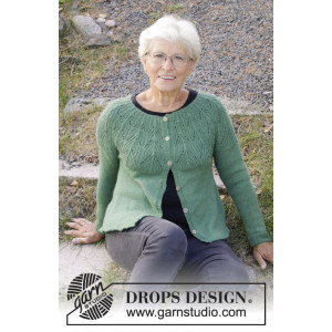 Green Echo Jacket by DROPS Design - Jakke Strikkeopskrift str. S - XXXL