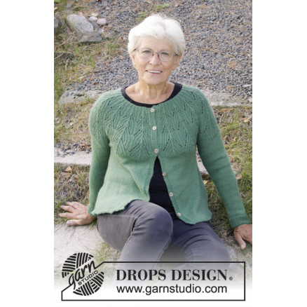Image of   Green Echo Jacket by DROPS Design - Jakke Strikkeopskrift str. S - XXX