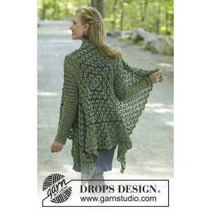 Green Envy by DROPS Design - Jakke Hækleopskrift str. S - XXXL