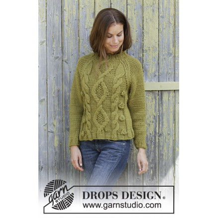 Image of   Green Tea by DROPS Design - Bluse Strikkeopskrift str. S - XXXL
