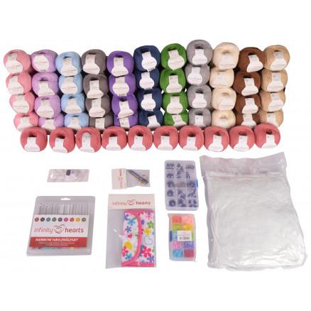 Infinity Hearts Rose Mega Bamse Hæklepakke 6 kg Garn - 12x10 nøgler thumbnail