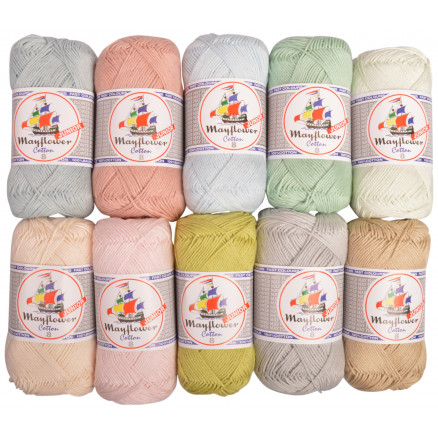 Image of   Mayflower Cotton 8/4 Junior Pastel Garnpakke Ass. farver - 10 nøgler