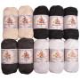 Mayflower Cotton 8/4 Junior Sort/Hvid Garnpakke Ass. farver - 10 nøgler