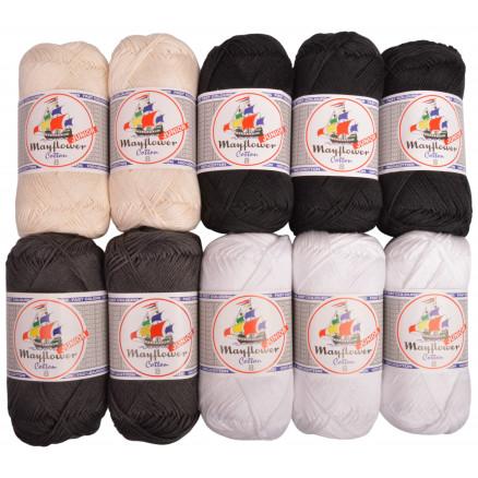 Mayflower Cotton 8/4 Junior Regnbue Garnpakke Ass. farver – 10 nøgler