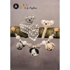 Mayflower Little Bits Babysæt med Bamser - Raslebamse, Sutteklud og Barnevognskæde Hækleopskrift